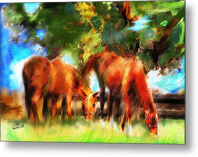 Metal Print featuring the painting Horses On A Kentucky Farm by Ted Azriel