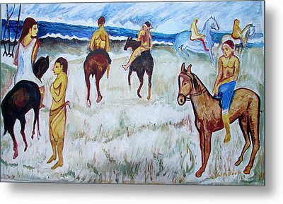 Metal Print featuring the painting Horses On Beach by Anand Swaroop Manchiraju