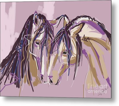 horses Purple pair Metal Print by Go Van Kampen