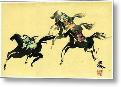 Metal Print featuring the painting Horse Racing by Ping Yan