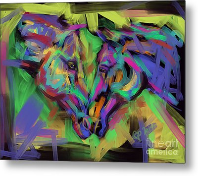Horses Together In Colour Metal Print by Go Van Kampen