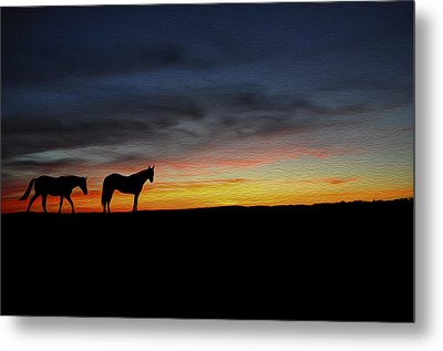 Horses Walking In The Sunset Metal Print by Aged Pixel