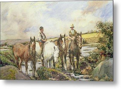 Horses Watering Metal Print by Henry Meynell Rheam