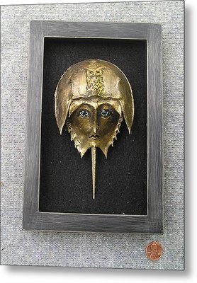 Horseshoe Crab Mask In Grey  Frame Metal Print