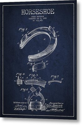 Horseshoe Patent Drawing From 1898 Metal Print by Aged Pixel