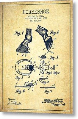Horseshoe Patent From 1899 - Vintage Metal Print