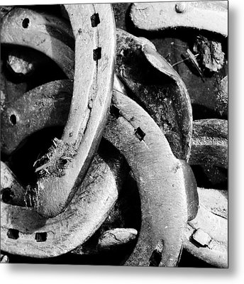 Horseshoes Black And White Metal Print