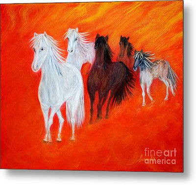 Metal Print featuring the painting Horses.soul Collection. by Oksana Semenchenko