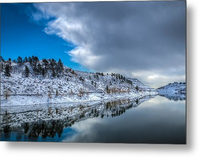 Horsetooth Reservoir Reflection Metal Print by Harry Strharsky