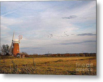 Horsey Windmill In Autumn Metal Print by Louise Heusinkveld