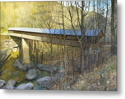 Horton Mill Covered Bridge In Winter Metal Print by T S Carson