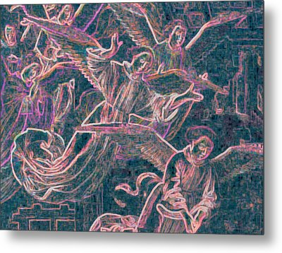 Metal Print featuring the digital art Host Of Angels Pink by First Star Art