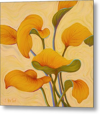 Metal Print featuring the painting Hosta Hoofin' by Sandi Whetzel