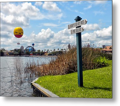 Hot Air Balloon And Old Key West Port Orleans Signage Disney World Metal Print by Thomas Woolworth