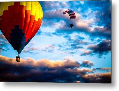 Hot Air Balloon And Powered Parachute Metal Print by Bob Orsillo