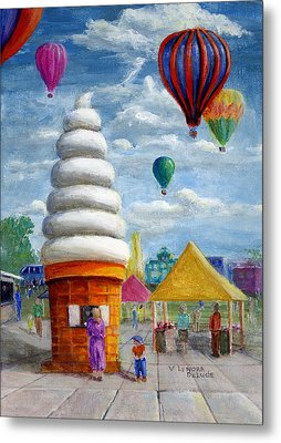 Metal Print featuring the painting Hot Air Balloon Carnival And Giant Ice Cream Cone by Lenora  De Lude