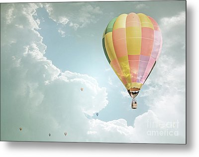 Hot Air Balloon Enchanted Clouds Metal Print by Andrea Hazel Ihlefeld