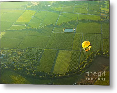 Hot Air Balloon Over Napa Valley California Metal Print by Diane Diederich