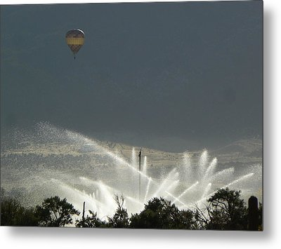 Hot Air Balloon Over Utah Farm Metal Print