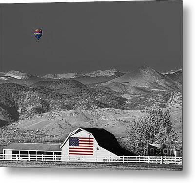 Hot Air Balloon With Usa Flag Barn God Bless The Usa Bwsc Metal Print by James BO  Insogna