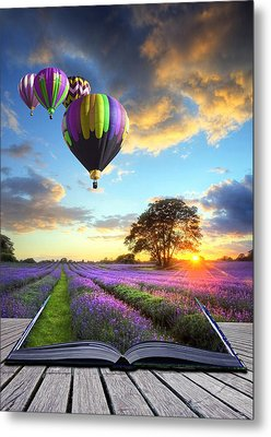 Hot Air Balloons And Lavender Book Metal Print by Matthew Gibson
