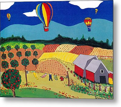 Metal Print featuring the painting Hot Air Balloons Over Farmland by Joyce Gebauer