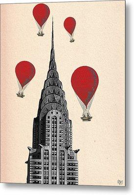 Hot Air Balloons Red Chrysler Building Metal Print