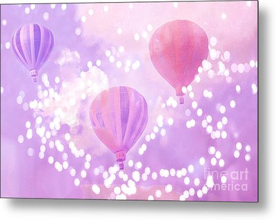 Surreal Dreamy Hot Air Balloons Lavender Purple Carnival Festival Art - Child Baby Girl Nursery Art Metal Print by Kathy Fornal