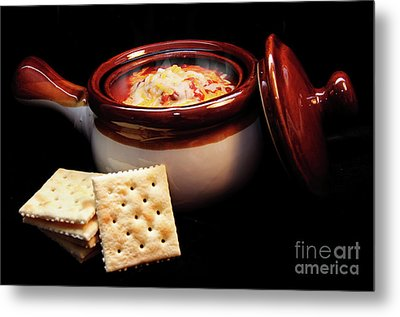 Hot Chili With Cheese And Crackers Metal Print by Andee Design