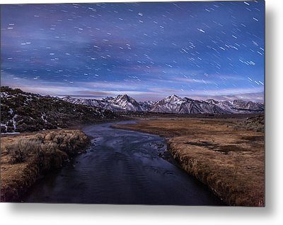 Hot Creek Star Trails Metal Print by Cat Connor