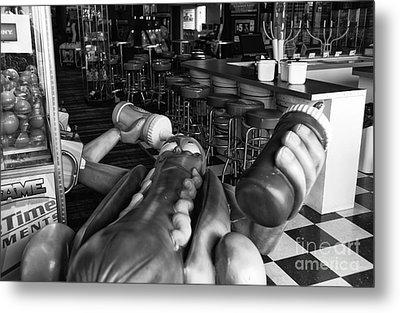 Hot Dog Man Down Mono Metal Print by John Rizzuto
