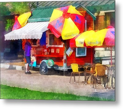 Hot Dog Stand In Mall Metal Print by Susan Savad