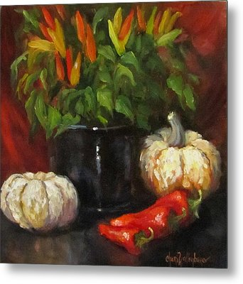 Metal Print featuring the painting Hot Peppers And Gourds by Cheri Wollenberg