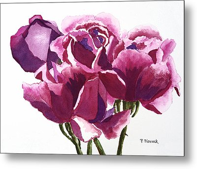 Hot Pink Roses Metal Print by Patricia Novack