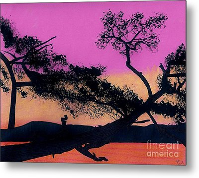 Metal Print featuring the drawing Hot Pink Sunset by D Hackett