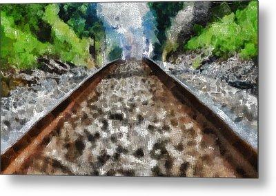 Hot Railroad Tracks Summer Day Metal Print by Dan Sproul