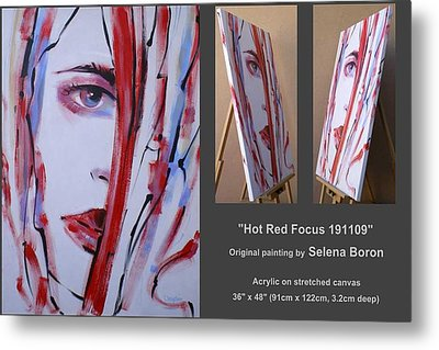Metal Print featuring the painting Hot Red Focus 191109 by Selena Boron