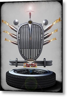 Hot Rod Crest Metal Print by Frederico Borges