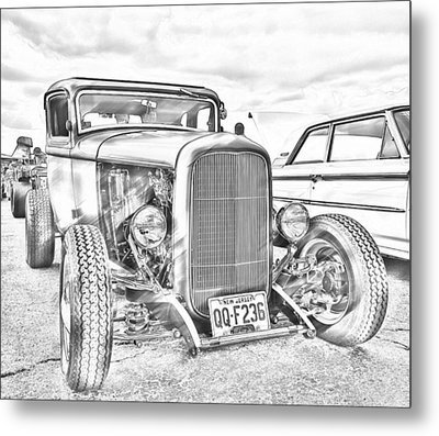 Hot Rod Faux Sketch Metal Print