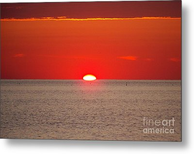 Hot Sun Seems To Melt Into The Sea Metal Print by Eunice Miller