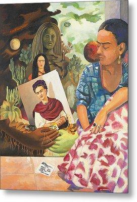 Hot Ticket Frida Kahlo Meta Portrait Metal Print