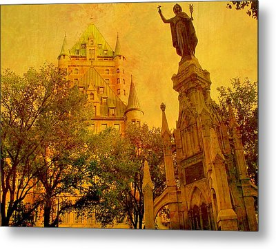 Hotel Chateau Frontenac And  Statue Metal Print by Rick Todaro