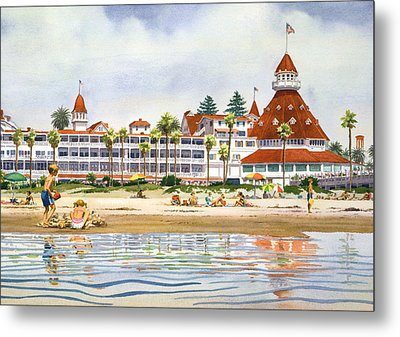 Hotel Del Coronado From Ocean Metal Print by Mary Helmreich