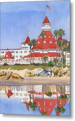 Hotel Del Coronado Reflected Metal Print by Mary Helmreich