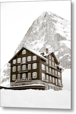 Hotel Des Alpes And Eiger North Face Metal Print