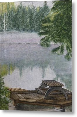 Metal Print featuring the painting Hotel Lake Resort In Bc by Kelly Mills