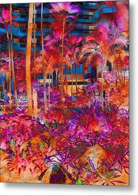 Hotel Lobby In Maui Metal Print by Connie Fox