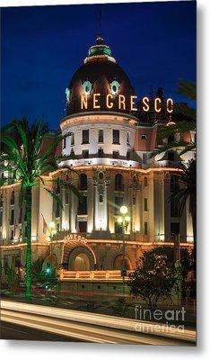 Hotel Negresco By Night Metal Print by Inge Johnsson
