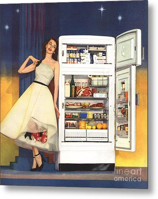 Hotpoint 1951 1950s Usa Fridges Metal Print by The Advertising Archives