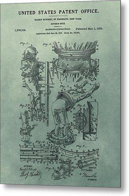 Houdini's Diver's Suit Patent Illustration Metal Print